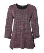 3/4 Wide Sleeve Fit and Flare Top  , Pink, original image number 0
