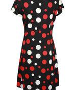 Short Sleeve Polka Dot Fit and Flare Dress , Black, original image number 1