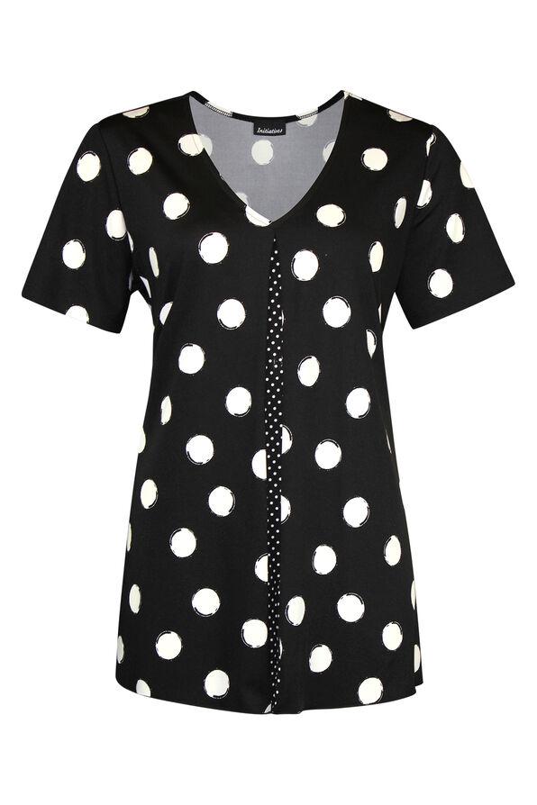 Pintuck Polka Dot Short Sleeve Top, Black, original image number 0