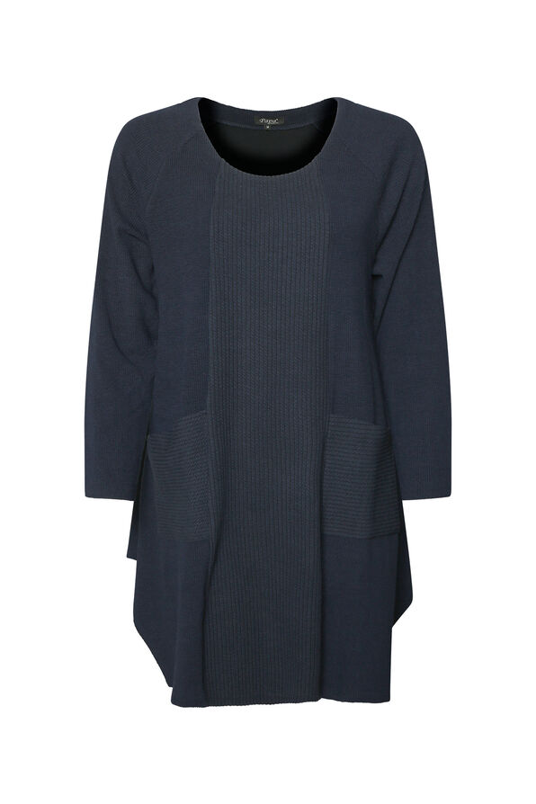 Crew Neck Texture Knit Tunic Top with Pockets, Navy, original image number 0