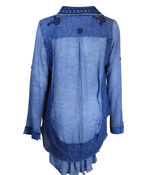 Multi Media Long Sleeve Top with Ruffle Hi-Lo Hem, Denim, original image number 1