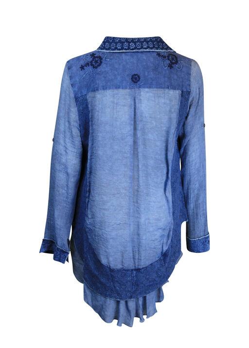 Multi Media Long Sleeve Top with Ruffle Hi-Lo Hem, Denim, original