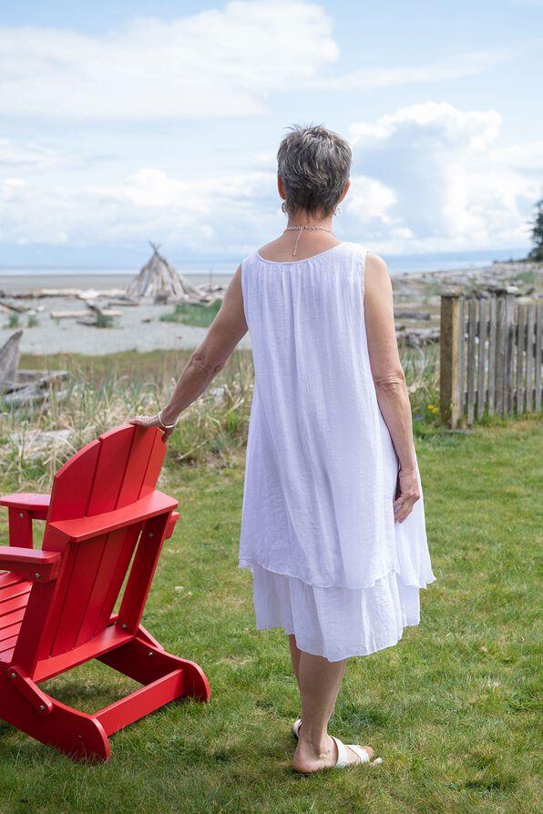 Sleeveless Layered Midi Dress with Sharkbite Hem, White, original image number 1