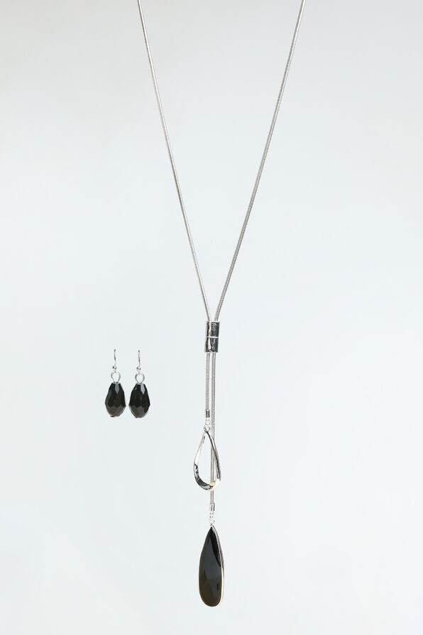 Black Onyx Necklace Set, Silver, original image number 0
