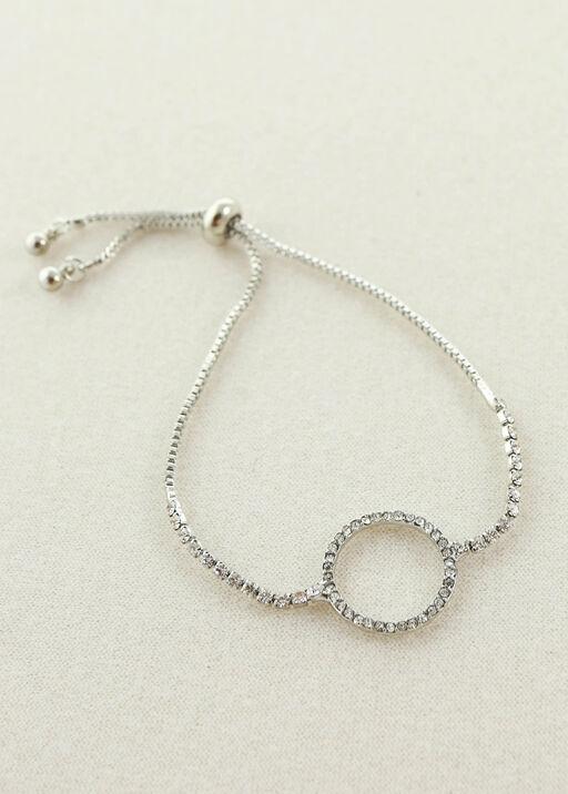 Circle Pendant Crystal Bracelet, Silver, original