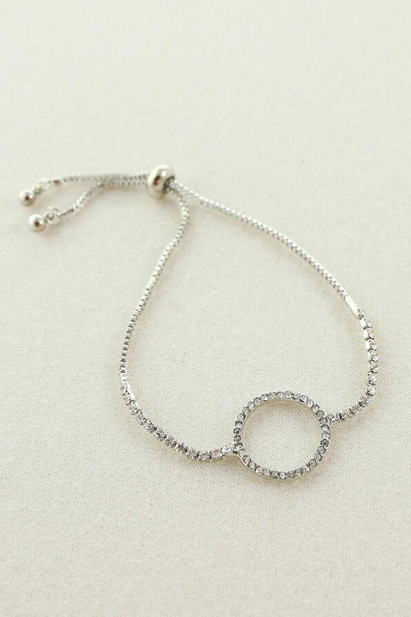 Circle Pendant Crystal Bracelet, Silver, original image number 0