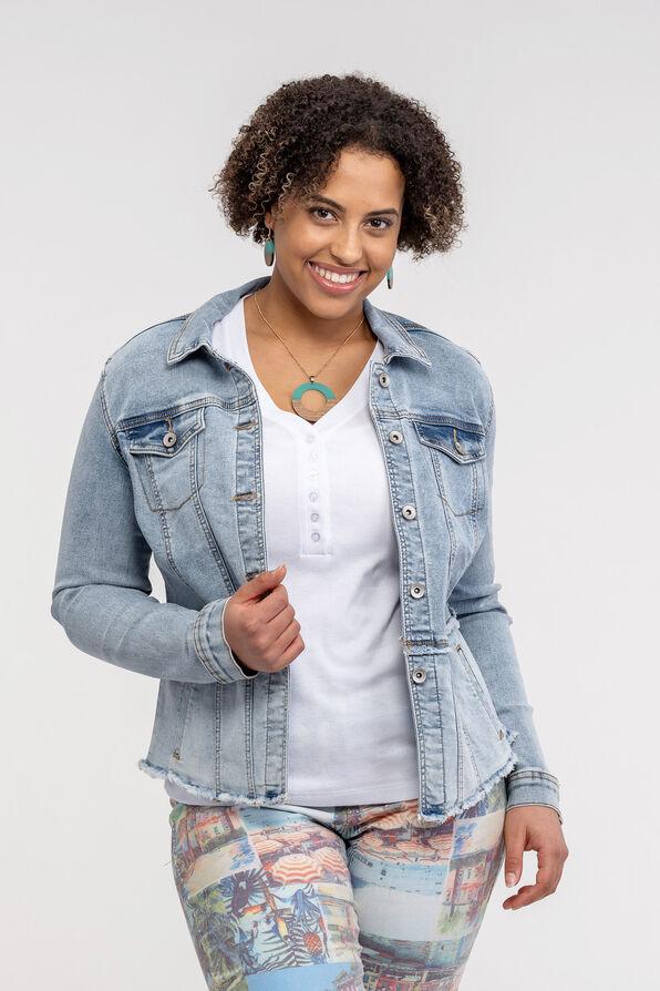 Fitted Denim Jacket with Cut Off Hem, Denim, original image number 0