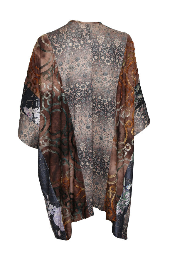 Golden Accent Kimono, Brown, original image number 1