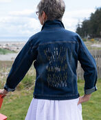 Pearl Sequins Dusted Denim Jacket, Denim, original image number 1