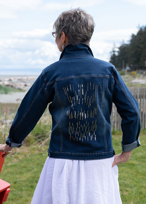 Pearl Sequins Dusted Denim Jacket, Denim, original