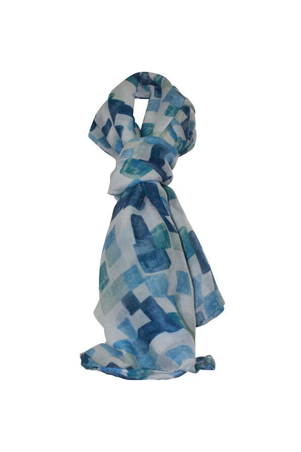 Square Print Rectangle Scarf, Blue, original image number 0
