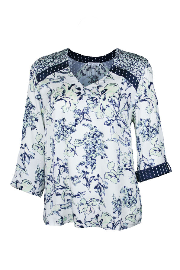 Floral and Polka Dot Roll Sleeve Top , Multi, original image number 0