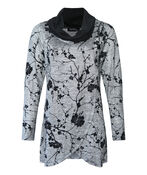 Floral Printed Cross Over Long Top , Grey, original image number 0