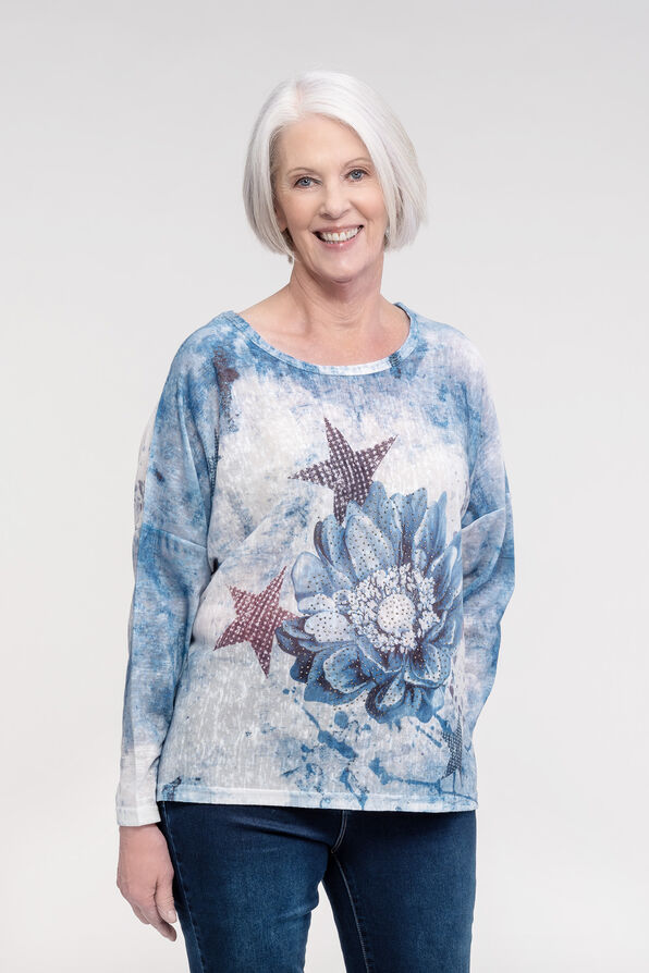 Star and Rhinestone Dolman Sleeve, Blue, original image number 0