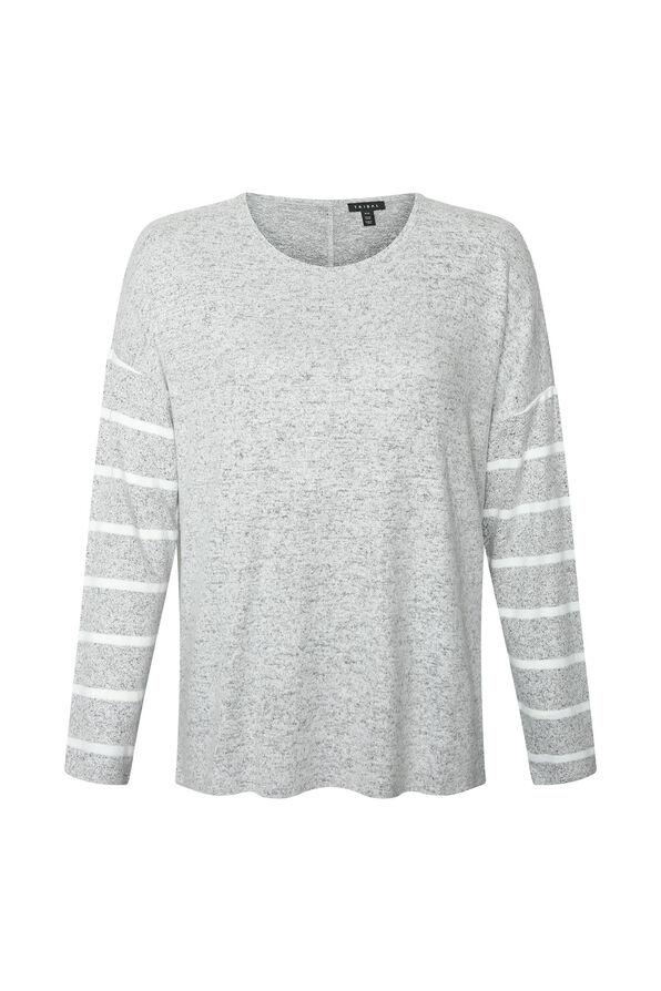 Gemma Button Back Long Sleeve Top, Grey, original image number 0