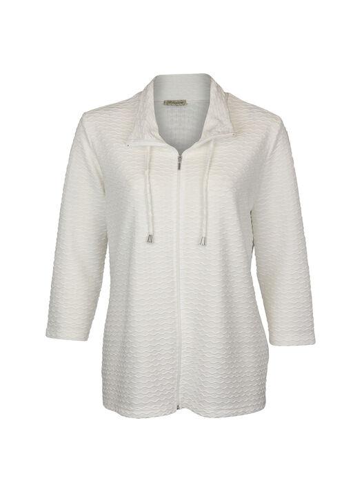Zip Cardigan Chevron Embroidery 3/4 Sleeve, , original