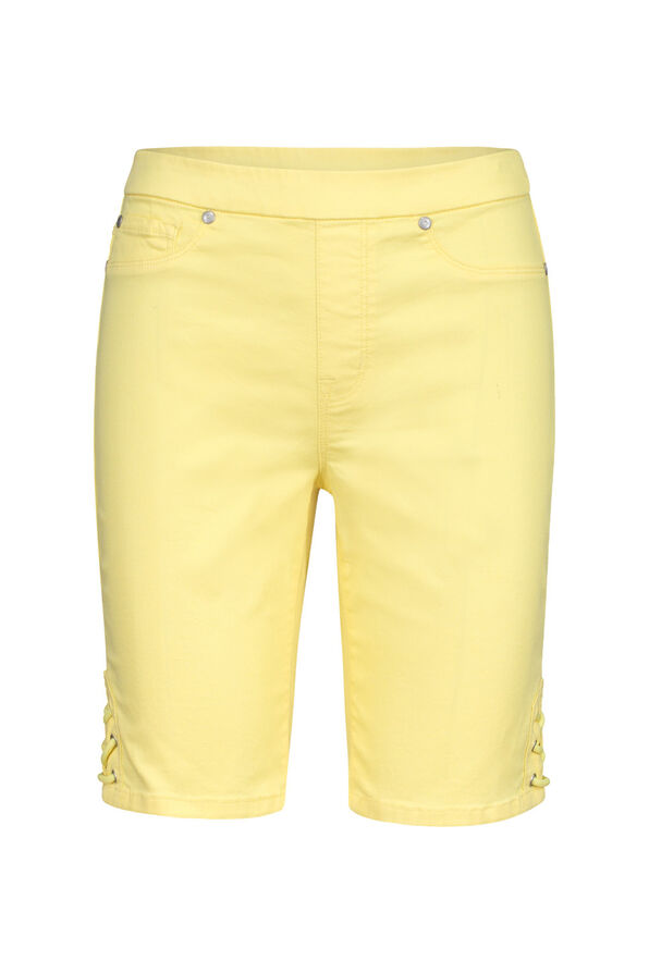 Audrey Pull-On Denim Short with Laced Detail, Yellow, original image number 1