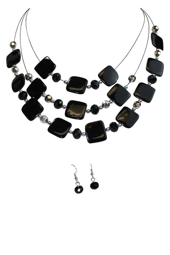 Square Beads Multi-Strand Necklace Earring Set, Black, original image number 0