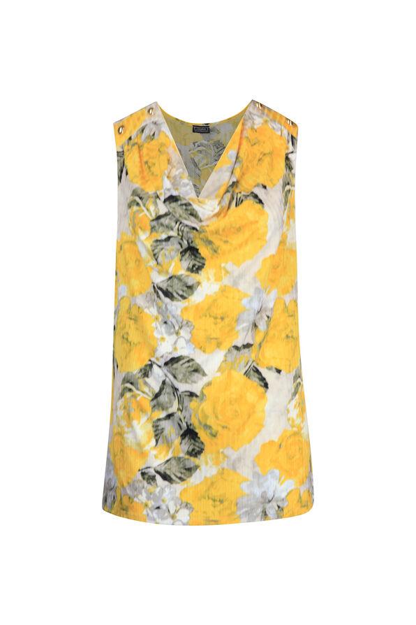 Cowl Neck Stud Shoulder Sleeveless Top, Yellow, original image number 0