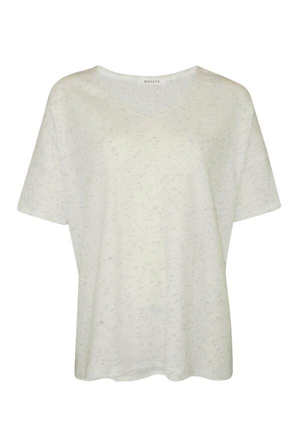 Short Sleeve Ribbed Knit V-Neck Shirt , Ivory, original image number 0