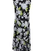 Sleeveless Mesh Maxi Dress with Ruffle Hem, Black, original image number 1