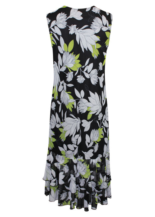 Sleeveless Mesh Maxi Dress with Ruffle Hem, Black, original