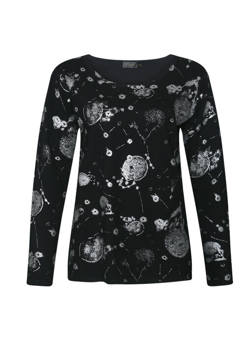 Long Sleeve with Silver Foil Print, Black, original