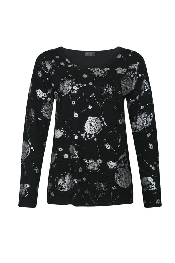 Long Sleeve with Silver Foil Print, Black, original image number 0