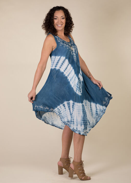 Sleeveless Embroidered Neckline Tie Dye Dress, Denim, original