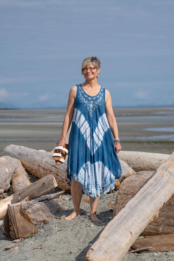 Sleeveless Embroidered Neckline Tie Dye Dress, Denim, original image number 0