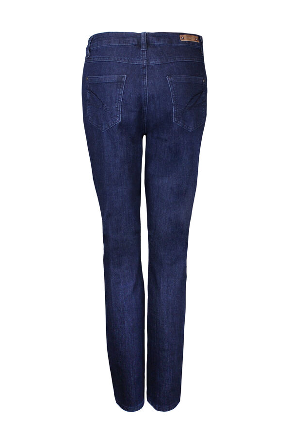 Embroidered Pocket Tummy Control Simon Chang Jeans, Blue, original image number 1