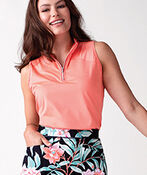 Mid Zip Sleeveless Polo Golf Shirt , Coral, original image number 1