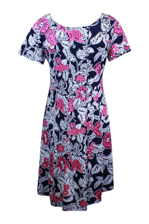 Short Sleeve Floral Puff Print Dress, Pink, original image number 1