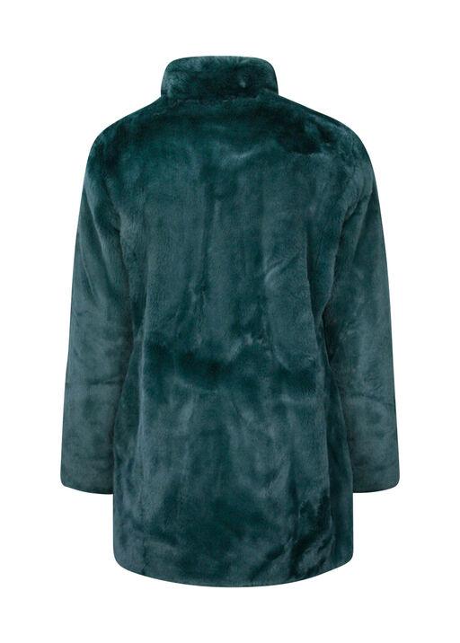 Faux Mink Jacket with 2 Way Zipper, Green, original