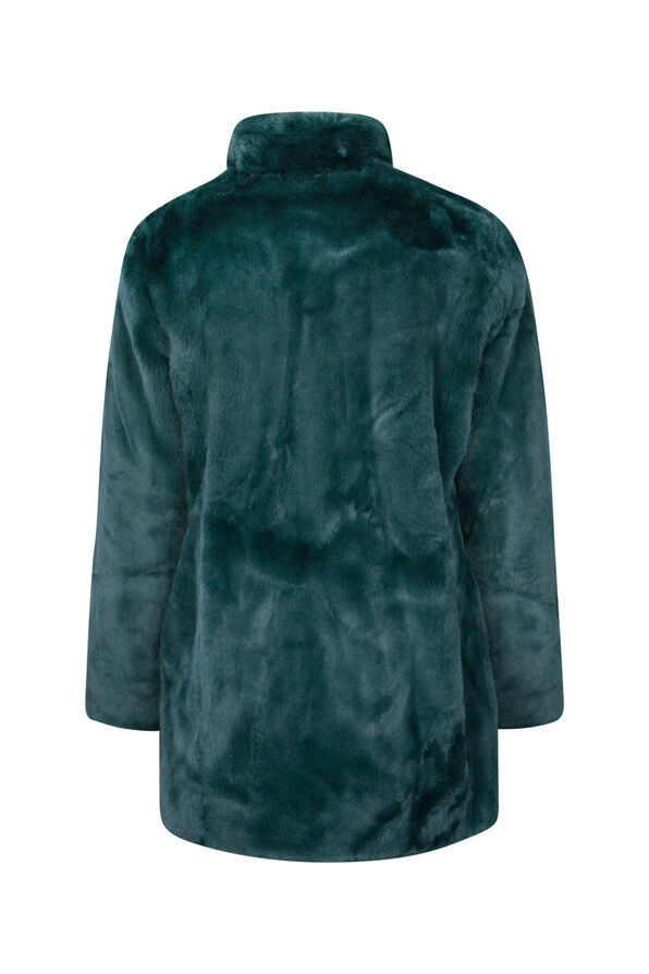 Faux Mink Jacket with 2 Way Zipper, Green, original image number 1