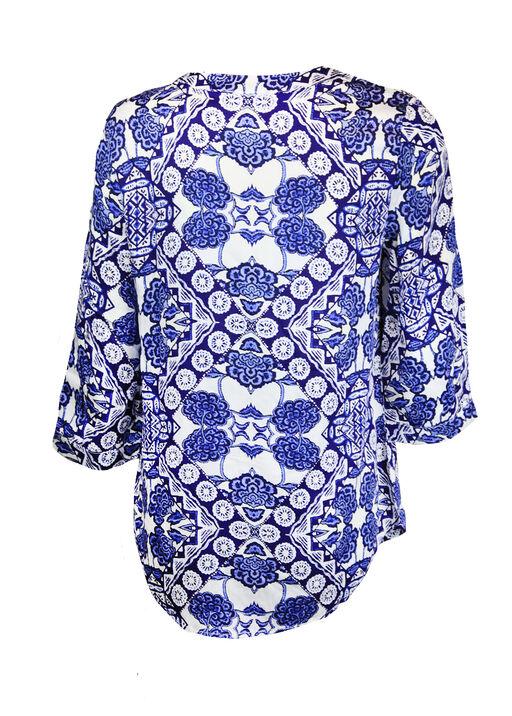 Printed 3/4 Sleeve Top with Tie Tassel, Blue, original