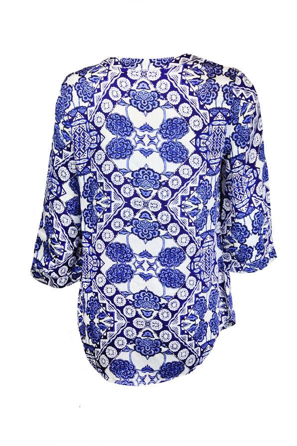 Printed 3/4 Sleeve Top with Tie Tassel, Blue, original image number 1