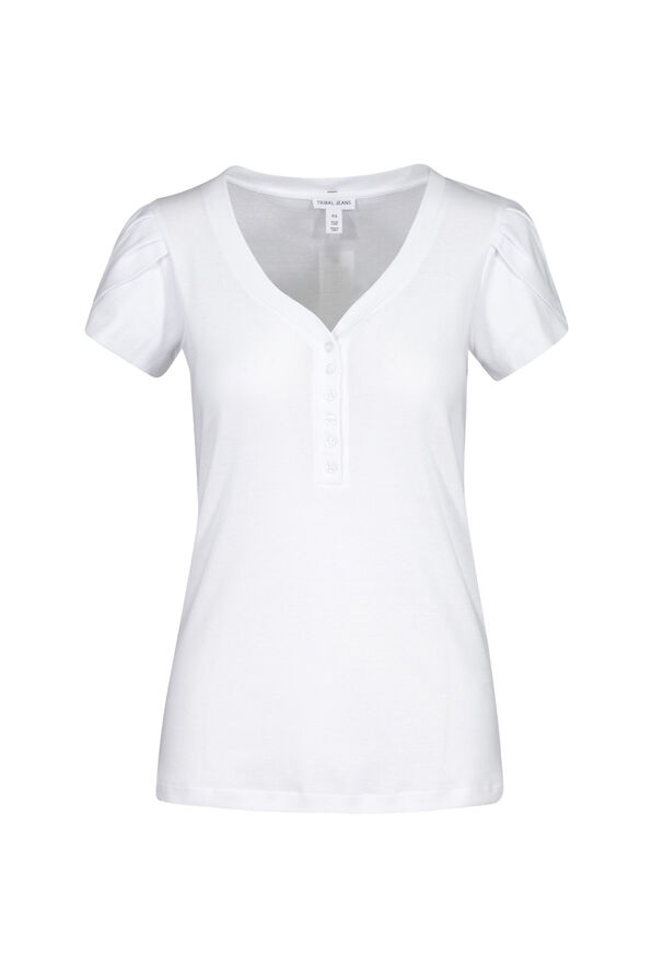 Tulip Sleeve Henley Top, White, original image number 2
