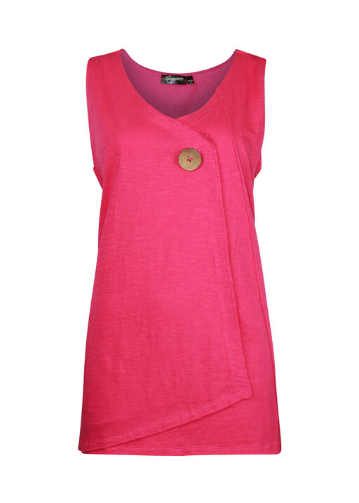 Cotton Faux Crossover Sleeveless Top, Pink, original