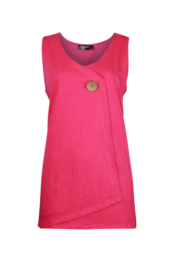Cotton Faux Crossover Sleeveless Top, , original image number 1