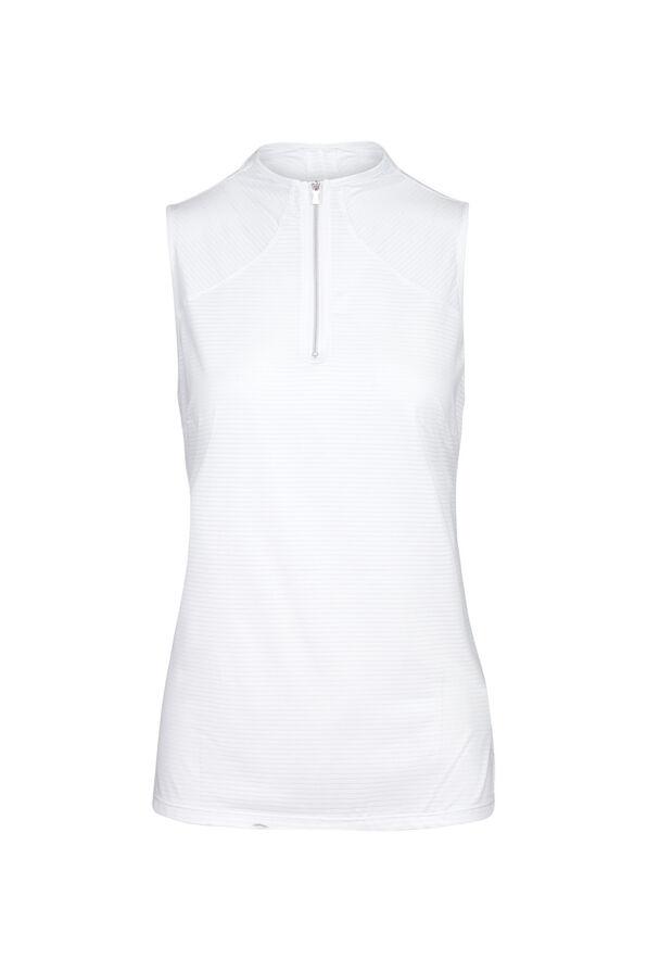 Mid Zip Sleeveless Polo Golf Shirt , White, original image number 0