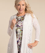 Chevron Weave Cardigan, White, original image number 0