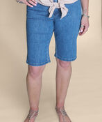 Embroidered Pocket Denim Shorts, Denim, original image number 3