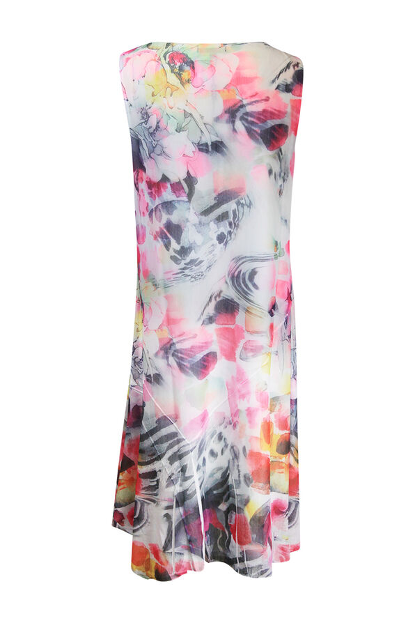 Sleeveless Floral Print Midi Dress, Pink, original image number 1