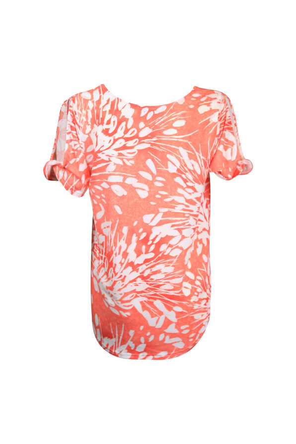 Printed Short Sleeve Top with Slit and Twist, White, original image number 1