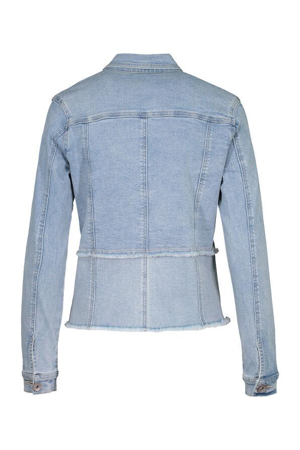 Fitted Denim Jacket with Cut Off Hem, Denim, original image number 3