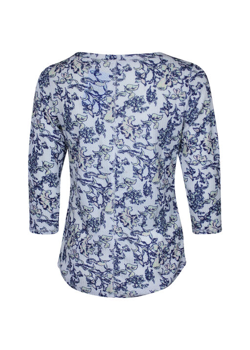 Henley Flower Print Top, Multi, original