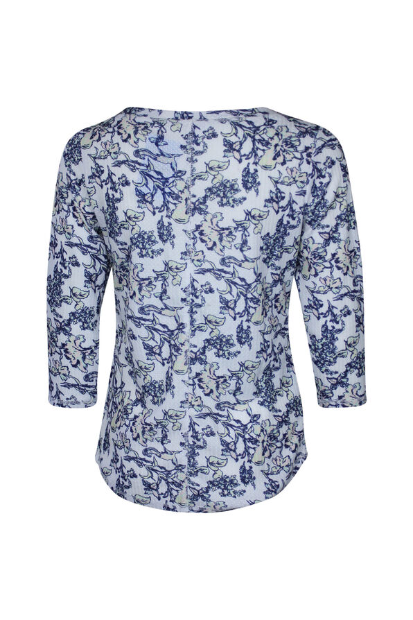 Henley Flower Print Top, Multi, original image number 1