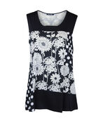 Floral and Polka Dot Sleeveless Top, Black, original image number 0