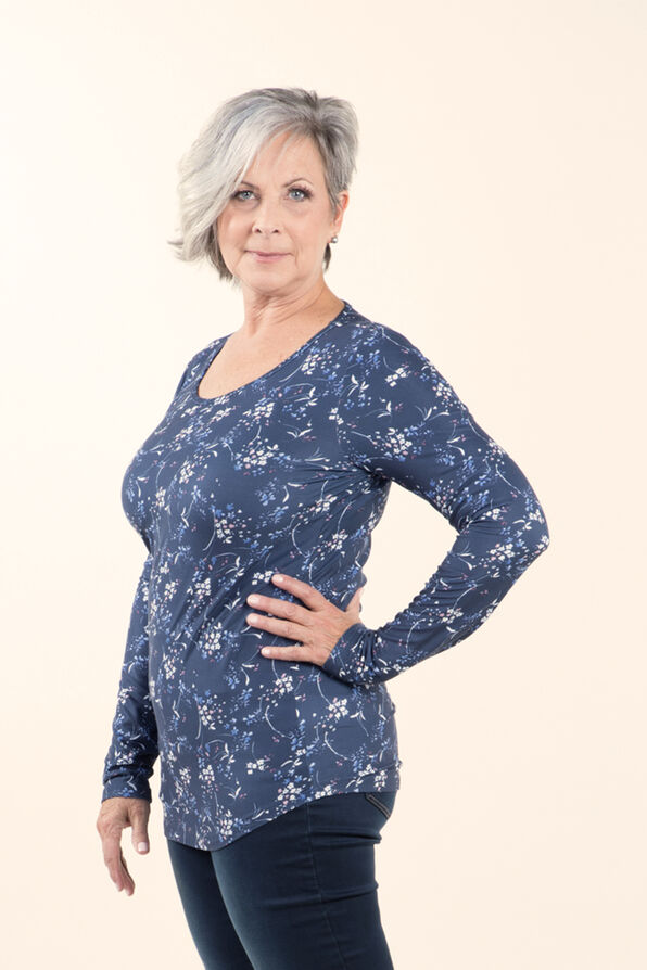 Top with Long Sleeves and Scoop neck, Indigo, original image number 2